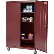 Sandusky Mobile Storage Cabinet TA3R462460- 46x24x66, Burgundy