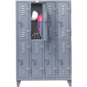 Strong Hold® Heavy Duty Slim-Line Locker 46-18-2TSL - Double Tier 50x18x78 8 Door