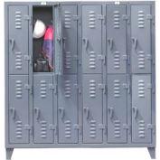 Strong Hold® Heavy Duty Slim-Line Locker 66-18-2TSL - Double Tier 74x18x78 12 Door