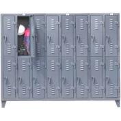 Strong Hold® Heavy Duty Slim-Line Locker 86-18-2TSL - Double Tier 98x18x78 16 Door