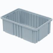 "Global Industrial™ Plastic Dividable Grid Container DG91035,10-7/8""L x 8-1/4""W x 3-1/2""H, Gray - Pkg Qty 20"