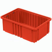 "Plastic Dividable Grid Container - DG91035,10-7/8""L x 8-1/4""W x 3-1/2""H, Red - Pkg Qty 20"