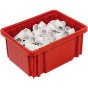 """Plastic Dividable Grid Container - DG91050,10-7/8""""L x 8-1/4""""W x 5""""H, Red - Pkg Qty 20"""