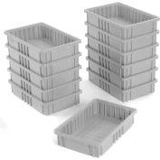 "Global Industrial™ Plastic Dividable Grid Container DG92035,16-1/2""L x 10-7/8""W x 3-1/2""H, Gray - Pkg Qty 12"