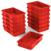 "Plastic Dividable Grid Container - DG92035,16-1/2""L x 10-7/8""W x 3-1/2""H, Red - Pkg Qty 12"