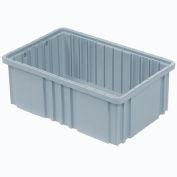 """Plastic Dividable Grid Container - DG92060,16-1/2""""L x 10-7/8""""W x 6""""H, Gray - Pkg Qty 8"""