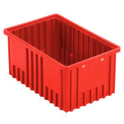 "Global Industrial™ Plastic Dividable Grid Container - DG92080,16-1/2""L x 10-7/8""W x 8""H, Red - Pkg Qty 8"