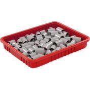 """Plastic Dividable Grid Container - DG93030, 22-1/2""""L x 17-1/2""""W x 3""""H, Red - Pkg Qty 6"""