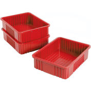 "Plastic Dividable Grid Container - DG93060, 22-1/2""L x 17-1/2""W x 6""H, Red - Pkg Qty 3"