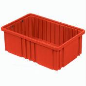 "Global Industrial™ Plastic Dividable Grid Container - DG93080, 22-1/2""L x 17-1/2""W x 8""H, Red - Pkg Qty 3"