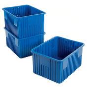 """Plastic Dividable Grid Container - DG93120, 22-1/2""""L x 17-1/2""""W x 12""""H, Blue - Pkg Qty 3"""