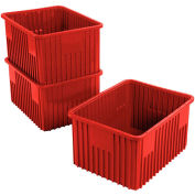 "Plastic Dividable Grid Container - DG93120, 22-1/2""L x 17-1/2""W x 12""H, Red - Pkg Qty 3"