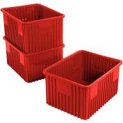 """Plastic Dividable Grid Container - DG93120, 22-1/2""""L x 17-1/2""""W x 12""""H, Red - Pkg Qty 3"""