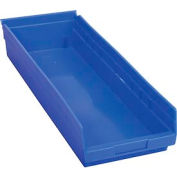 "Plastic Shelf Storage Bin - Nestable 8-3/8""W  x 23-5/8"" D x 4""H Blue - Pkg Qty 6"