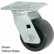 """Faultless Swivel Plate Caster 1465W-5RB 5"""" Thermoplastic Wheel with Brake"""