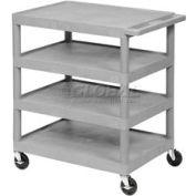 Luxor® BC45 Gray Plastic Shelf Truck 24 x 18 x 35-1/2 4 Shelves