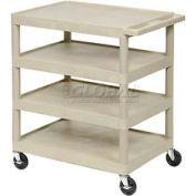 Luxor® BC45 Putty Plastic Shelf Truck 24 x 18 x 35-1/2 4 Shelves