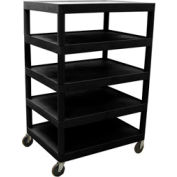 Luxor® BC55  Plastic Shelf Truck 32 x 24 x 48, 5 Shelves, Black