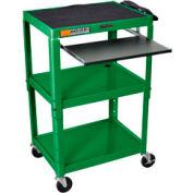 Green Adjustable Steel Workstation With Sliding Keyboard Shelf