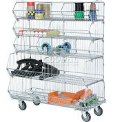 "Modular Wire Stacking Bin Basket Rack, 48""W x 20""D x 45""H, 5 Wire Bins"
