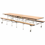 "Virco Cafeteria Table with Benches 144""L Oak Top"