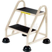 2 Step Aluminum Rolling Ladder - Beige