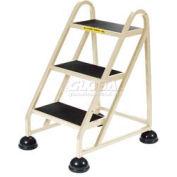 3 Step Aluminum Rolling Ladder, Beige - 1030-19