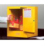 Justrite Flammable Liquid Cabinet, 4 Gallon, Self-Close Single Door Vertical Storage