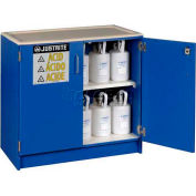 "Justrite 36 x 2-1/2 Liter Bottle Cap., Wood Laminate Storage Acid Cabinet, 36""Wx22""Dx35-3/4""H, Blue"