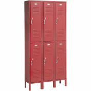 Penco 6235V-3-736 Vanguard Locker Pull Latch Double Tier 12x18x36 6 Doors Ready To Assemble Burgundy
