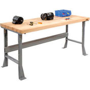 "72"" W"" x 30"" D Extra Long Industrial Workbench, Maple Butcher Block Square Edge - Gray"
