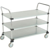 Nexel® Galvanized Steel Utility Cart 3 Shelves 48x24