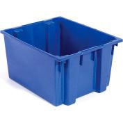 """Akro-Mils Nest & Stack Tote 35300 - 29-1/2""""L x 19-1/2""""W x15""""H, Blue - Pkg Qty 3"""