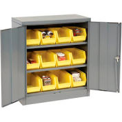 "Locking Storage Cabinet 36""W X 18""D X 42""H With 12 Yellow Stacking Bins and 2 Shelves Unassembled"