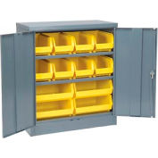 "Locking Storage Cabinet 36""W X 18""D X 42""H With 18 Yellow Stacking Bins and 2 Shelves Unassembled"