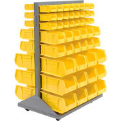 Global Industrial™ Mobile Double Sided Floor Rack - 96 Blue Stacking Bins 36 x 54