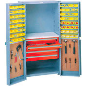 Security Work Center & Storage Cabinet With Peboards,4 Drawers & 64 Yellow Bins