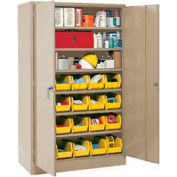 "Locking Storage Cabinet 30""W X 15""D X 66""H With 56 Yellow Shelf Bins and 7 Steel Shelves Assembled"