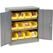"Locking Storage Cabinet 36""W X 18""D X 48""H With 18 Yellow Stacking Bins and 2 Shelves Assembled"