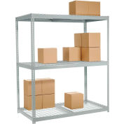 Global Industrial™ Wide Span Rack 48Wx24Dx84H, 3 Shelves Wire Deck 1200 Lb Cap. Per Level, Gray