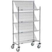 "Nexel® Slant Wire Shelving Suture Cart, 4 Shelves, 36""W x 24""L x 69""H"