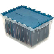 """Akro-Mils Clear KeepBox Attached Lid Container 66486FILEB w/File Rails - 21-1/2""""L x 15""""W x 12-1/2""""H - Pkg Qty 6"""