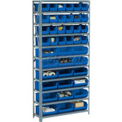 """Steel Open Shelving with 21 Blue Plastic Stacking Bins 8 Shelves - 36"""" x18"""" x 73"""""""