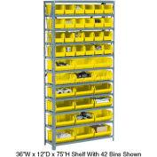 Global Industrial™ Steel Open Shelving - 10 Yellow Plastic Stacking Bins 8 Shelves 36 x 18 x 73