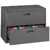 """Extra Value 2 Drawer Lateral File Cabinet 36""""W X 26-5/8""""H - Black"""