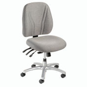 Multifunctional Office Chair - Fabric - Mid Back - Gray Seat Silver Base