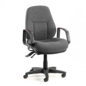 Office Chair with Arms - Fabric - Mid Back - Gray