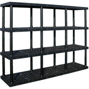 """Structural Plastic Vented Shelving, 96""""W x 24""""D x 75""""H, Black"""