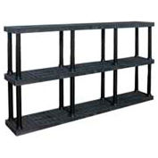 "Structural Plastic Vented Shelving, 96""W x 16""D x 51""H, Black"