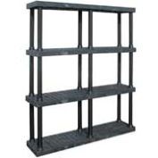 """Structural Plastic Vented Shelving, 66""""W x 16""""D x 75""""H, Black"""